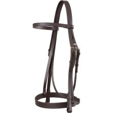 Jeffries Wembley Snaffle Bridle with Plain Cavesson and Rubber Grip Reins: Dark Havana: Pony
