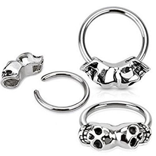 Twin Skull Surgical Steel Captive Bead Ring CBR Universal Piercing Body Jewellery