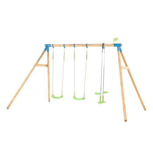 TP Toys Woburn Wooden Triple Swing Set With 2 Swings 1 Glide Ride Swing Ages 3 Years+ Colour Green