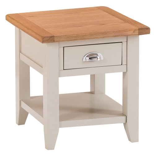 St. Ives Truffle Painted Oak 1 Drawer Large Lamp Table
