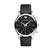 Emporio Armani AR1733 Men's Black Leather Strap Chronograph Watch