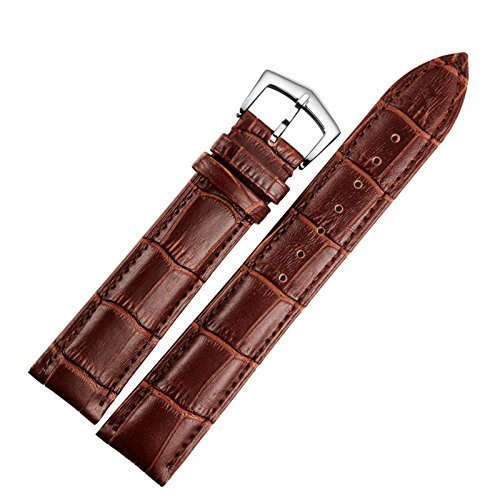 18mm Brown Leather Watch Strap Band Replacement Padded Alligator Grained Classic Pin Buckle