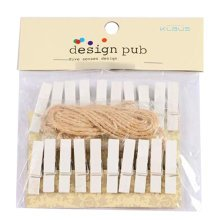 Mini Natural Wooden Clothespins Photo Paper Peg Pin Craft Clips with 2m Jute Twine, G