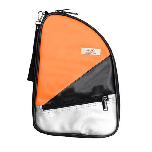 R Shape Artificial Leather Table Tennis Racket Cover Ping Pong Bat Bag(Orange)