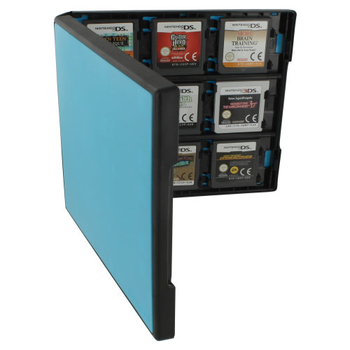 Assecure 18 game card case for Nintendo 3DS & DS holder storage box - blue black
