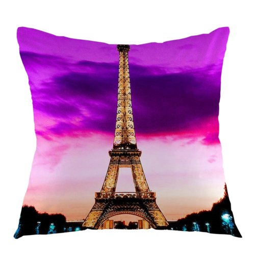 Melyaxu Eiffel Tower France Paris Home Decorative Throw Pillow Case Square Cushion Cover for Sofa Bed Chair Couch Decoration 18 x 18 inch Purple