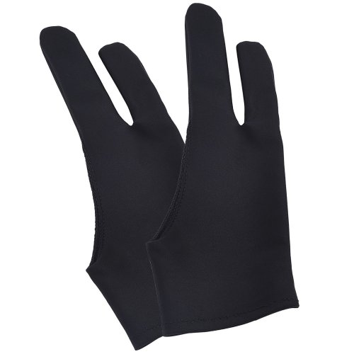 Tablet Glove Artist Anti-fouling Drawing Glove for Tablet, Pad and Art Creation, Black, 2 Pieces