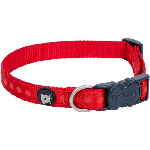"Petface Tonal Dots Collar 10"" To 12""-Extra Small-Red"