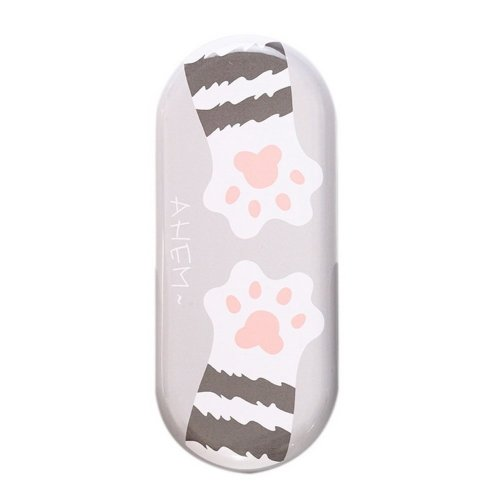 Creative Iron Simple Glasses Case - Grey Bottom With Cartoon Cat Feet