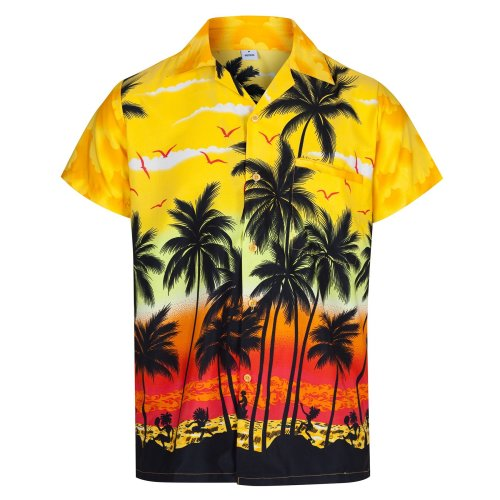 Mens Hawaiian Shirt Short Sleeve STAG Beach
