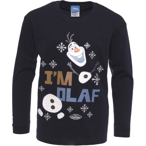 Boys Frozen Olaf T-shirt | Disney Olaf Tshirt | Official | IM OLAF | Youth | 7-8 | NAVY | L/SLEEVE