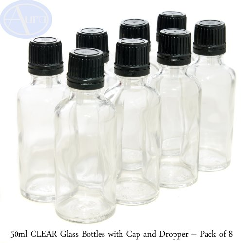 50ml CLEAR Glass Bottles with Black T/E Caps & Droppers - PACK of 8