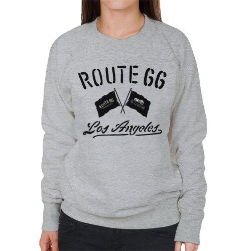 Route 66 Motorcycle Flags Los Angeles Women's Sweatshirt