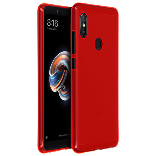 size 40 adf1a 0342b Silicone case Glossy & matte back cover for Xiaomi Redmi Note 5 - Red