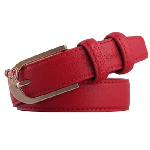 Fashionable Ladies Joker Belts Casual Bales Catch Leather Pin buckle Red