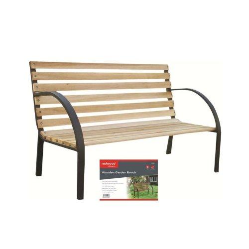 120Cm 2 Person Garden Wooden Bench With Steel Frame Teak