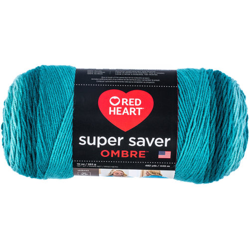 Red Heart Super Saver Ombre Yarn-Deep Teal