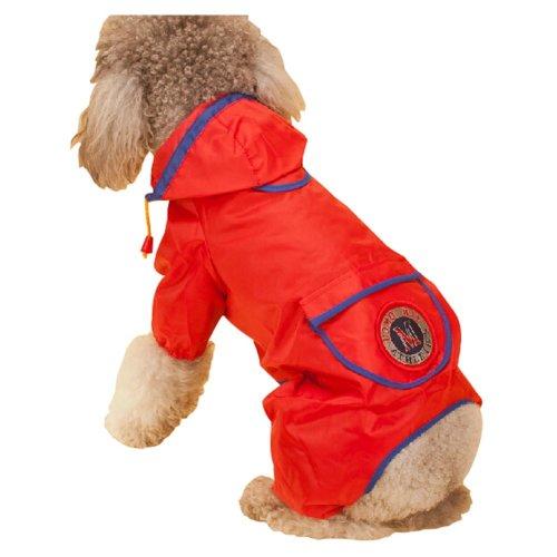 Fashion British Style Puppy Pet Dog Raincoat Pet Gear Rain Jacket RED, M