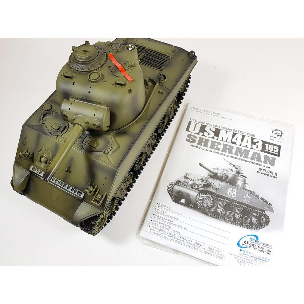 Heng Long 1/16 M4A3 Sherman Radio Control RC Tank Smoke & Sound 2 4Ghz