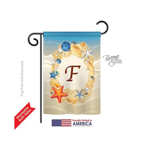 Breeze Decor 80162 Summer F Monogram 2-Sided Impression Garden Flag - 13 x 18.5 in.