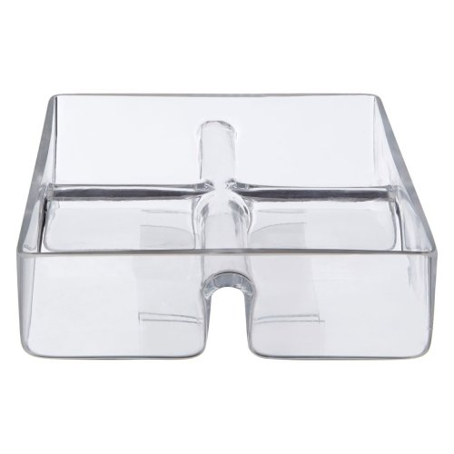 4 Equal Section Square Clear Glass Serving Dish
