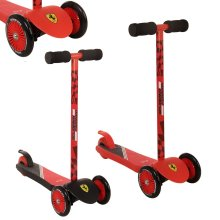 Official Ferrari Red / Black Mini Push Scooter Twist n Turn Three Wheel Tilt [Red]