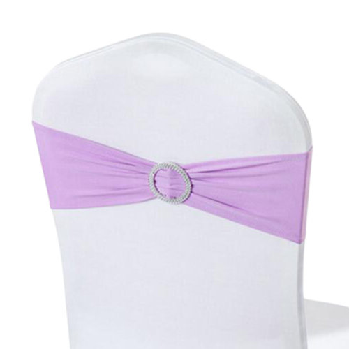 10PCS Chair Back Wedding Bow Sashes Chair Cover Bands With Buckle-Light Purple