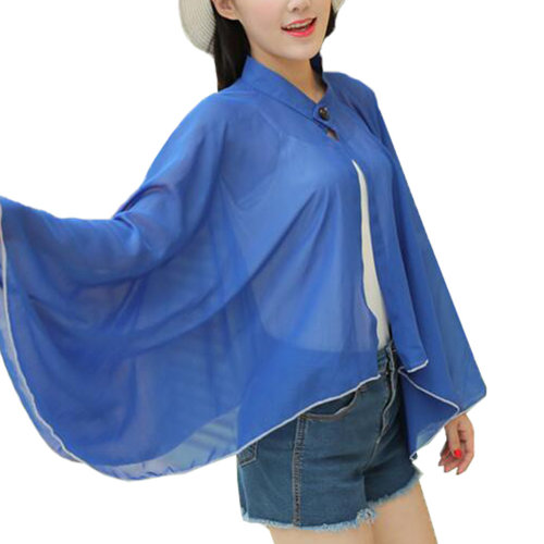 Sun Protective Clothing - Summer Chiffon Shawl Beach Coats Jackets-Blue