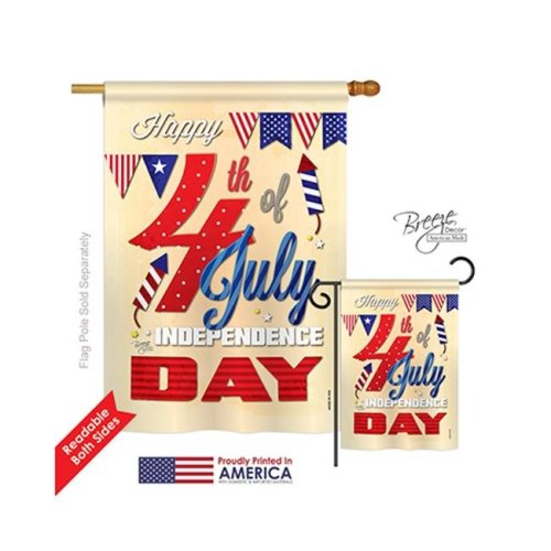 Breeze Decor 11008 Fourth of July Happy 4th 2-Sided Vertical Impression House Flag - 28 x 40 in.