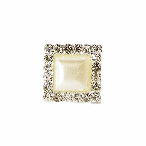 10 x Mini Square Diamante and Pearl Crystal Embellishment Grade A Rhinestones