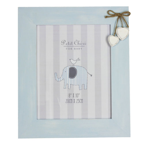 Petit Cheri Baby Wooden 10'x8' Distressed Photo Frame with Hanging Hearts - Blue