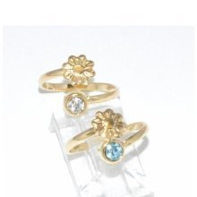 9CT Gold Filled Flower and Gemstone Adjustable Toe Ring B2