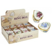 Heart Shape Ceramic Decorated Ring Box With Hinged Lid -  ceramic ring box jewellery storage decorative floral trinkets heart earring disply case new