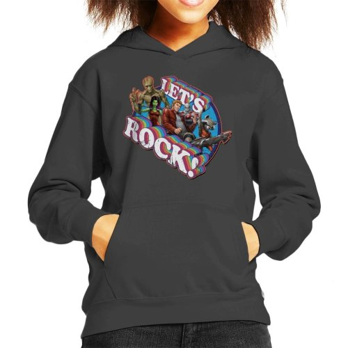 (Large (9-11 yrs), Charcoal) Marvel Guardians Of The Galaxy Lets Rock Kid's Hooded Sweatshirt