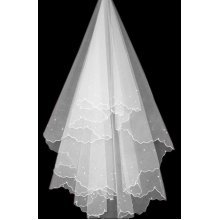 Charming Blessing Single-layer Beads Wave Edge Bridal Wedding Veil, White/1.5M
