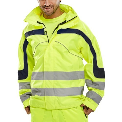 Click ET45SYXXL Hi Vis Yellow Eton Water Proof Jacket With Concealed Hood XXL