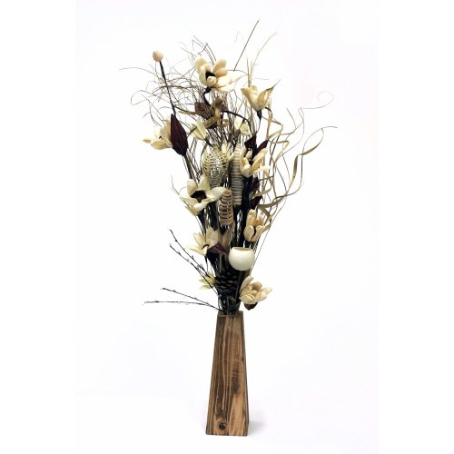 Unique new Dried & Artificial Cream handmade Flowers in a Bouquet 85cm Tall with FREE 26 cm wood Vase made in UK