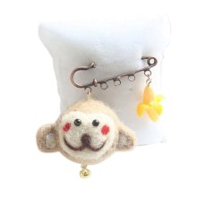 Cute Cartoon Animal Wool Felt Brooch Pin Clothing Accessories, Monkey