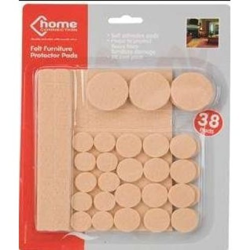 Home Connection - Self Adhesive Felt Furniture Protective Pads 38 Pads - -  pads furniture felt 38 self adhesive protector floor x chair table