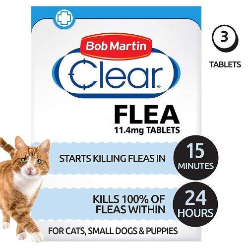 (Cats Under 11kg) Bob Martin Clear Cat & Dog Flea Tablets