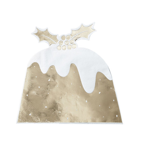 Gold Foiled Christmas Pudding Napkin - 12 Pack - Xmas Party