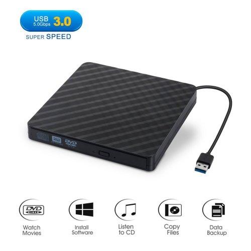 External DVD Drive, DEEPOW USB 3.0 Slim External CD DVD Drive, Portable External CD Drive/ Writer/ Burner/ Reader/ Player for Laptop, Notebook,...