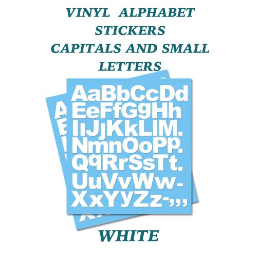 2 x  Giant A-Z White Capital & Small Letters Vinyl Stickers size 100mm