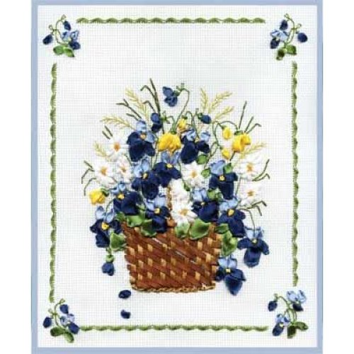 Ribbon Embroidery Kit by Panna  C-0661 Basket of Violets