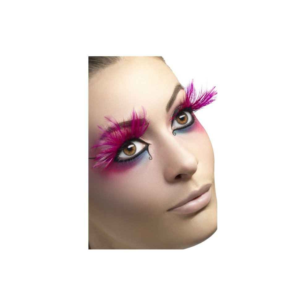 210f9abce54 Smiffy's Eyelashes With Feather Plumes And Glue - Pink - eyelashes feather  pink dress long plumes smiffys false fancy glue on OnBuy