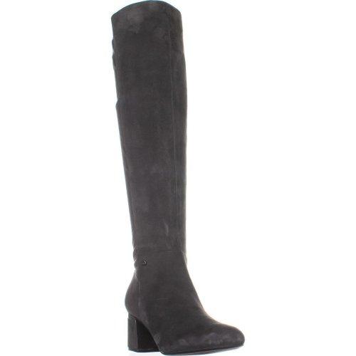 DKNY Cora Low-Heel Knee High Boots, Dark Gray Suede, 7.5 UK
