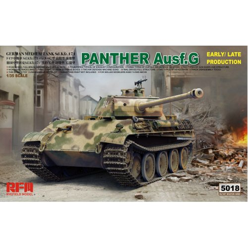 1:35 Panther Ausf.G with workable track links & a canvas cover of muzzle brake part Military Model Kit