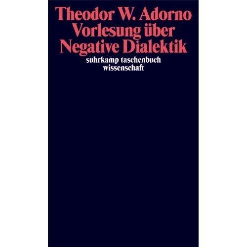 Vorlesung über Negative Dialektik: Fragmente zur Vorlesung 1965/66