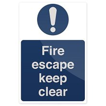 Fixman Fire Escape Keep Clear Sign 200 x 300mm Rigid - Fire Escape Keep Clear -  fire escape keep clear rigid sign x 300mm 200 fixman 896791