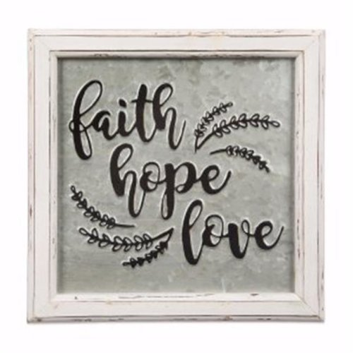 Brownlow Gift 170508 Embossed Metal Sign - Faith Hope Love, 12 x 12 in.